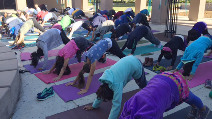 yoga class at Stonegate Elementary