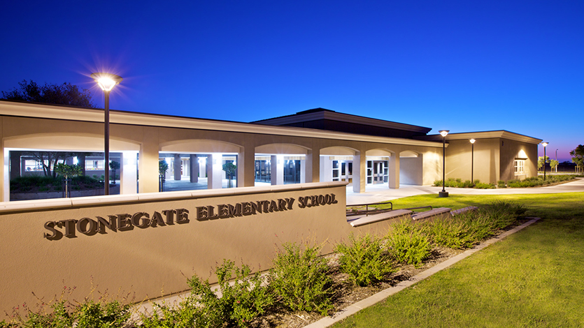 Stonegate Elementary School at dusk